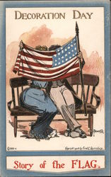 Decoration (Memorial) Day - Story of the Flag - Couple on a bench kissing behind the flag Postcard