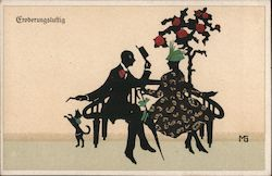 Lot of 2: German, Couple on Bench Silhouettes Postcard