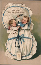 Two Twigs from the same stem! Infant twins in a bassinet sharing milk Postcard