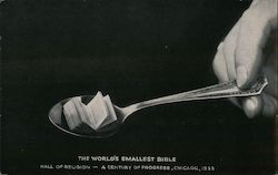 The World's Smallest Bible - Hall of Religion, World's Fair 1933 Postcard