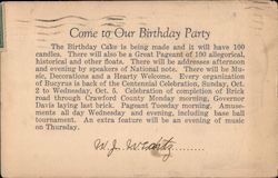 Come to Our Birthday Party Centennial Postcard