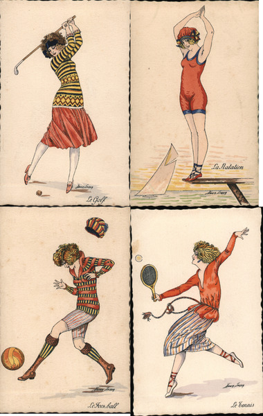 Set of 4: Women Playing Sports Golf Tennis Swimming Soccer