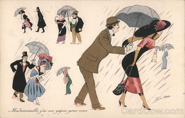 Couples with Umbrellas in Rain Series 510 Xavier Sager