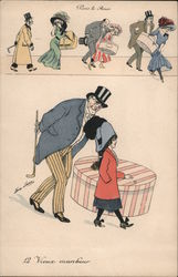 Gentlemen accosting ladies with oversize hat boxes Series 4489 Postcard
