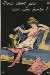 Risque Woman with Cat on Couch Postcard