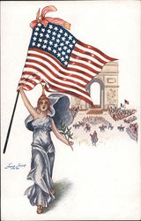 Columbia holding up the American flag & olive branch Arc de Triomphe Series 134 Postcard