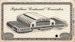 1956 Republican Centennial Convention Ticket Cow Palace Other Ephemera