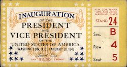 1949 Truman Inauguration of the President and Vice President Ticket Other Ephemera