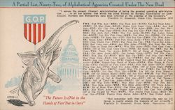 1944 A Partial List of Alphabetical Agencies Under New Deal Postcard