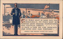 Woodrow Wilson Extracts From President Wilson's War Message Postcard
