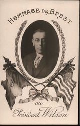 French: President Woodrow Wilson Postcard
