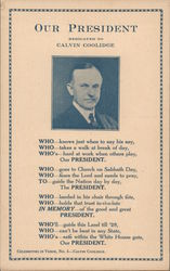 Our President Dedicated to Calvin Coolidge Postcard