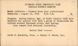 Young Democratic Club Monthly Meeting Postcard