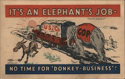 1932 Hoover Election It's an Elephant's Job, No Time For Donkey-Business! Postcard