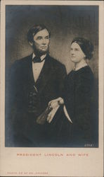 President Lincoln and WIfe Postcard