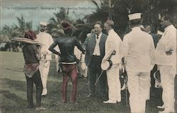 """In the Philipinnes"". Secretary Taft greeting Datto Piang Postcard"