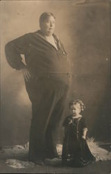 Large Man with Tiny Woman Postcard