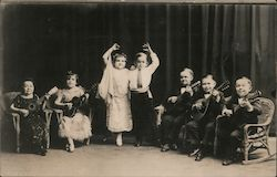Little people - dancing and guitar playing Postcard