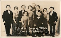 Klinkhart's Troupe of Midgets - Circus A.G. Barnes Postcard
