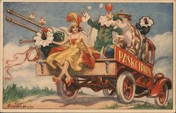 Paskcirkus Cart with Drum, Woman, and Clown