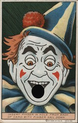 "Clown Face ""Insert Finger in Hole From Back of Card Postcard"
