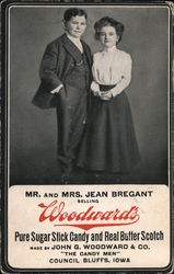 Mr. and Mrs. Jean Bregant selling Woodward's Postcard