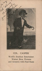 Col. Casper World's Smallest Entertainer, Autographed Postcard