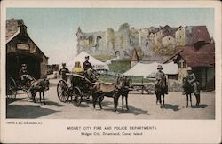 Midget City Fire and Police Departments Postcard