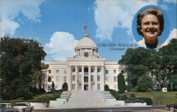 Lurleen Wallace, Governor Shown Here in This Insert With Alabama's Historic State Capitol Building Postcard