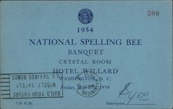 1954 National Spelling Bee Banquet Invitation: Hotel Willard Postcard