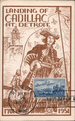 Landing of Cadillac at Detroit 1701-1951 Postcard