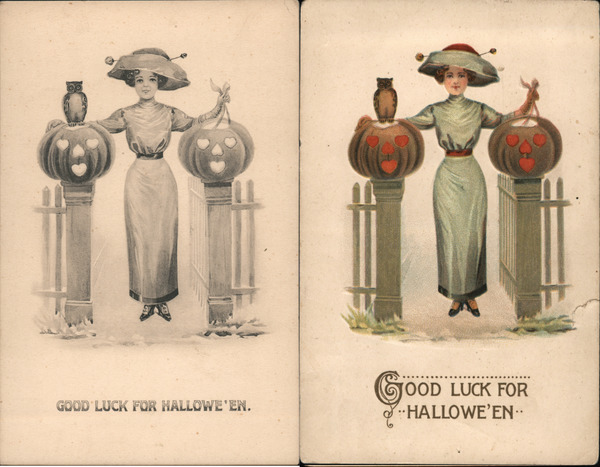 Lot of 2: Color & B&W Version Good Luck For Halloween