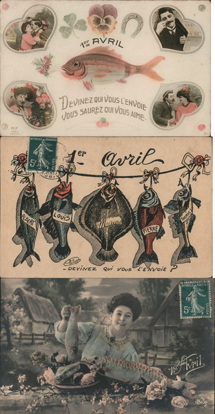 Lot of 3: French 1er Avril April Fish April Fools Day