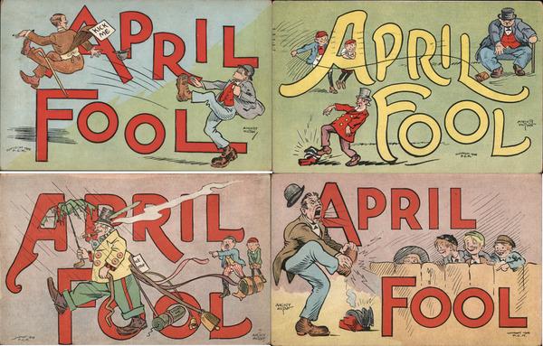 Set of 4: April Fool Pranks Comic April Fools Day