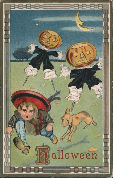Boy Running from Jack O'Lanterns: Hallowe'en Halloween