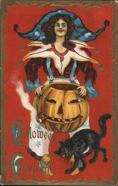 Costumed Woman With Jack O'Lantern and Black Cat Halloween
