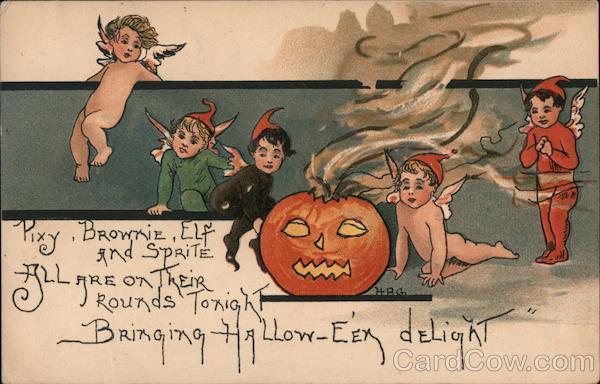 Pixy, Brownie, Elf and Sprite and Jack O'Lantern HBG
