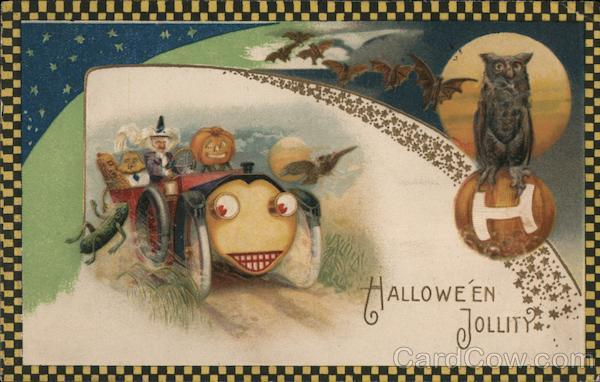 Checker Border Witch Driving Car: Halloween Jollity