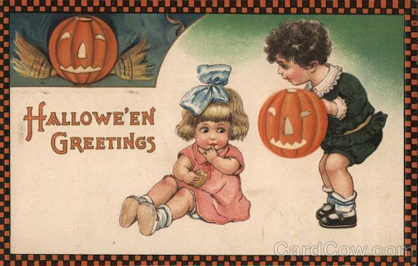 Checker Border Two Children With Pumpkin: Hallowe'en Greetings