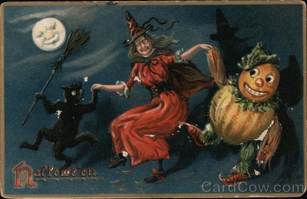 Witch, Pumpkin and Black Cat: Hallwe'en Halloween