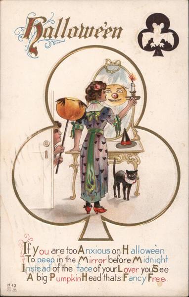 Woman Looking in Mirror at Jack O'Lantern: Hallowe'en H-13