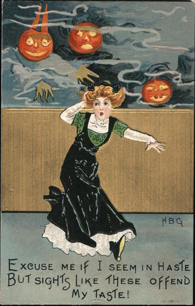 Woman Being Chased by Pumpkin Heads: Hallowe'en HBG