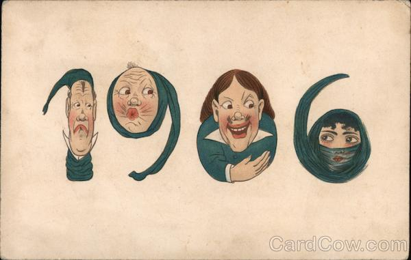 People's Faces Turned into Numbers: New Years 1906