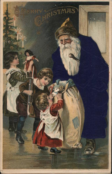 Silk Santa Claus in Blue Hands out Gifts to Three Children in their Home