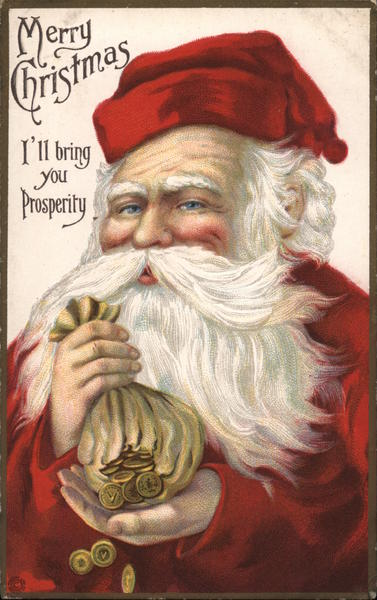 Merry Christmas - Santa Claus with Bag of Coins