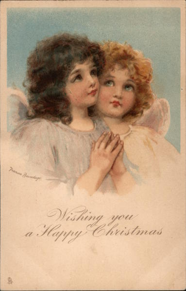 Wishing You a Happy Christmas: Two Angels Frances Brundage
