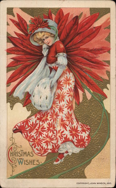 Christmas Wishes - Lady with Red Flowers Samuel L. Schmucker