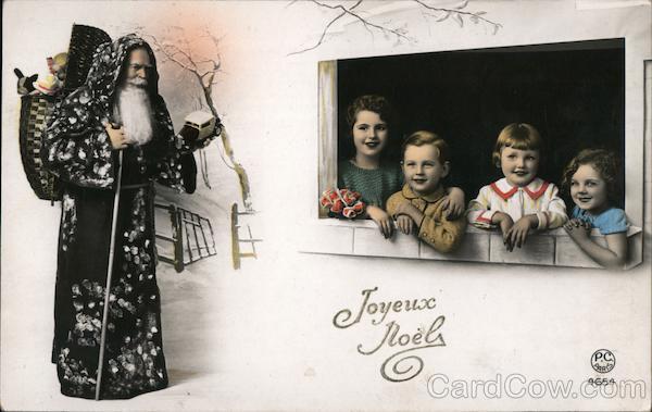 Art Deco Black Santa Walking Through the Snow Santa Claus