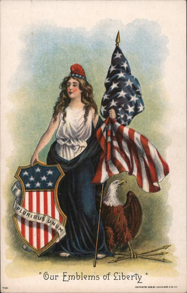 Our Emblems of Liberty: Miss Liberty, Shield, Flag and Eagle