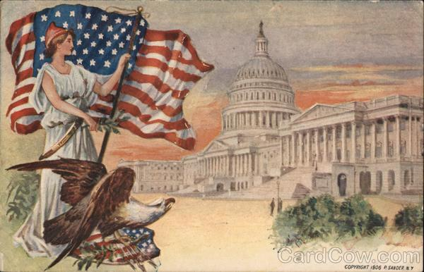 Lady Liberty with Flag and Eagle Watching Capitol Building
